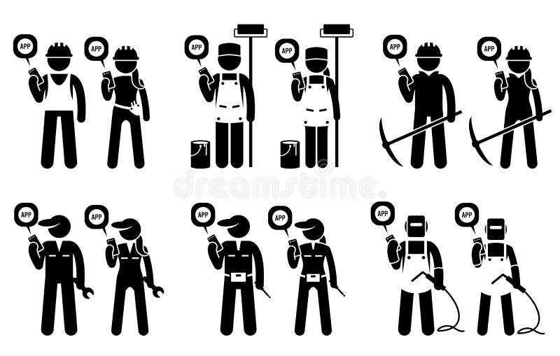 Industrieel, bouw, bouwers, en mijnbouwarbeiders die mobiele toepassing voor hun banen gebruiken stock illustratie