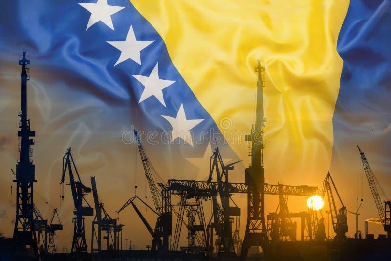 Industrieel concept met de vlag van Bosnië-Herzegovina bij zonsondergang stock afbeelding