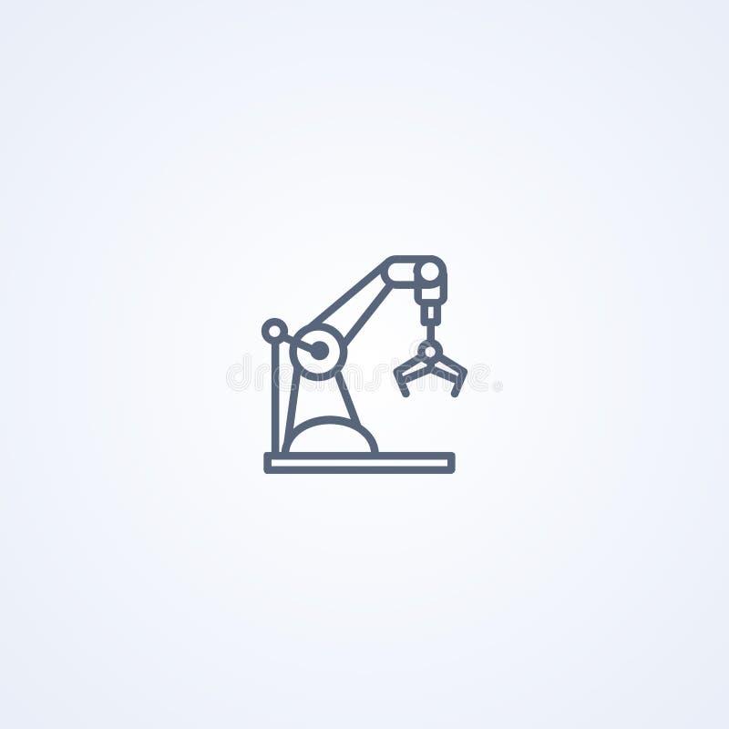 Industrieel de klauw robotachtig wapen van het machineconcept, vector beste grijs lijnpictogram stock illustratie