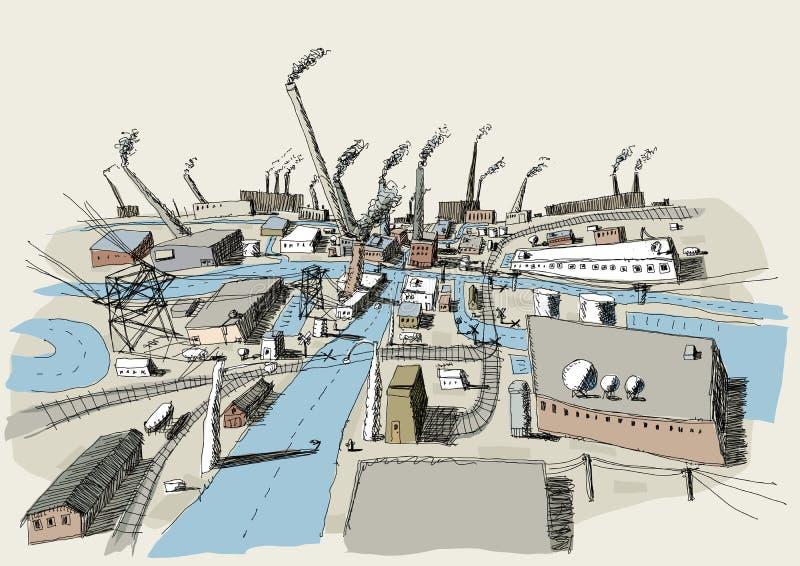 Industrieel district royalty-vrije illustratie
