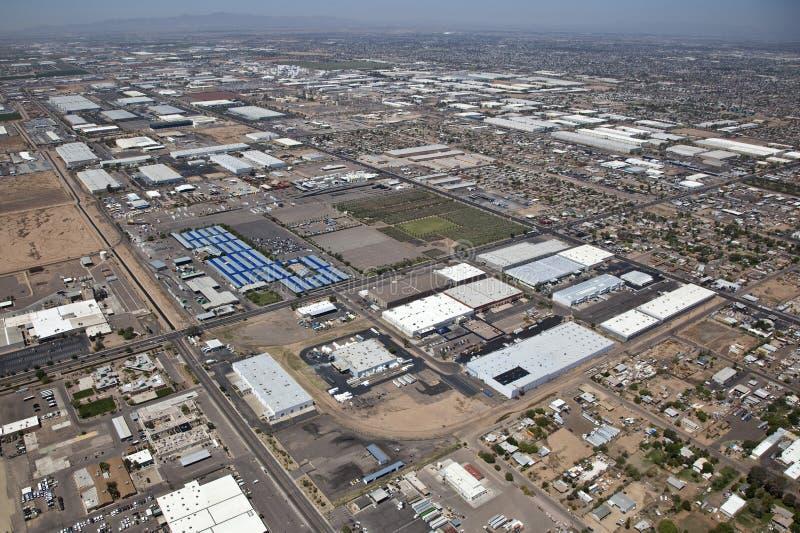 Industrieel district van hierboven stock afbeelding