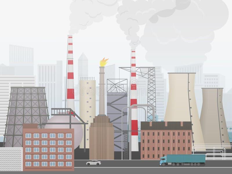 Industrieel fabriekslandschap Installatie of fabriek de stadsachtergrond in mist vector illustratie