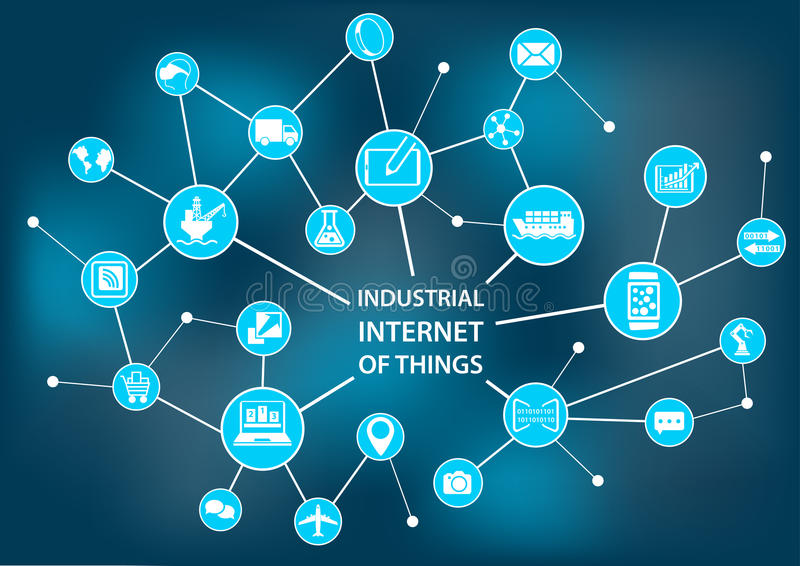 Industrieel Internet van dingen/de industrie 4 concept 0 zoals stock illustratie