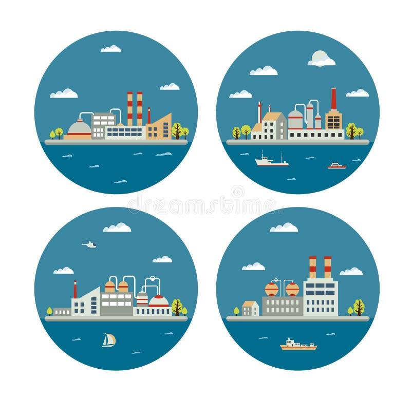 Industrieel landschap royalty-vrije illustratie