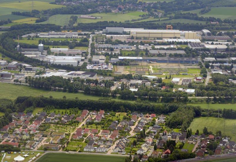 Industrieel landschap dichtbij Dortmund, Duitsland royalty-vrije stock afbeelding