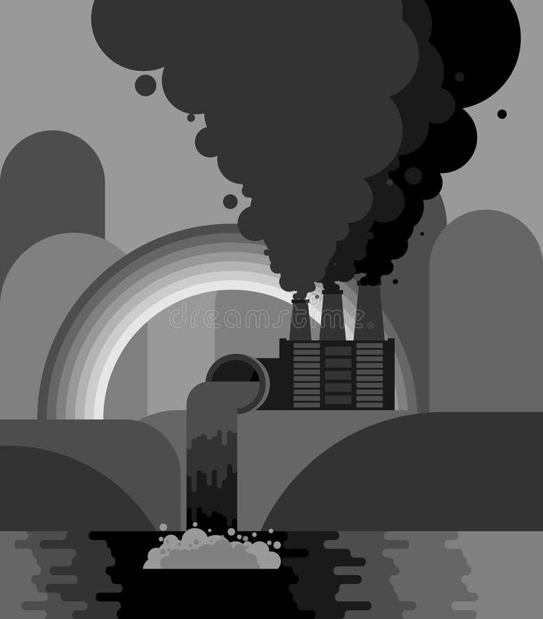 Industrieel landschap Installatieemissies in rivier milieu stock illustratie