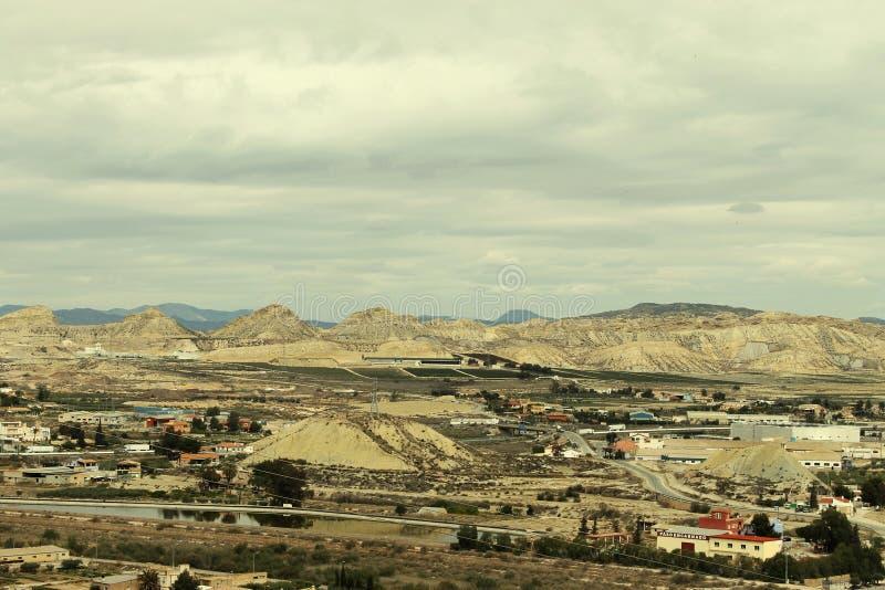 Industrieel landschap in Lorca stock foto