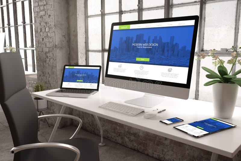 industrieel ontvankelijk de websiteontwerp van het bureaumodel stock foto's