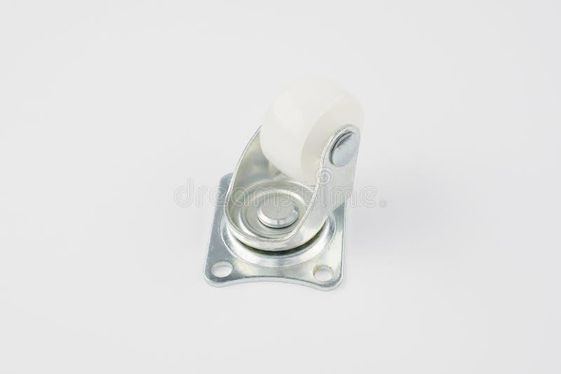 Industrieel plastic de gietmachinewiel van de karretjewartel op witte achtergrond stock foto's