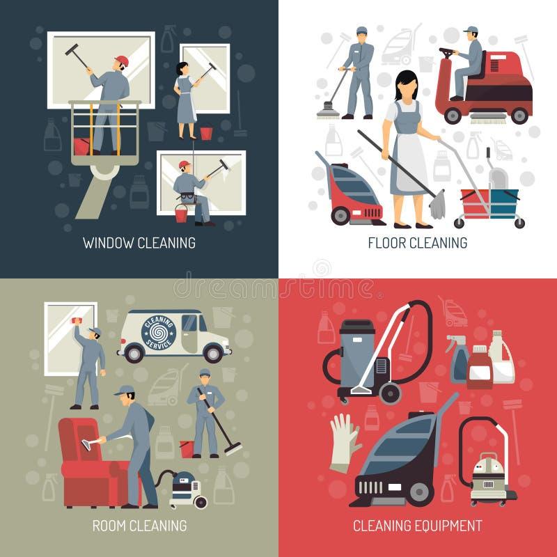 Industrieel Schoonmakend 4 Vlak Pictogrammenvierkant royalty-vrije illustratie