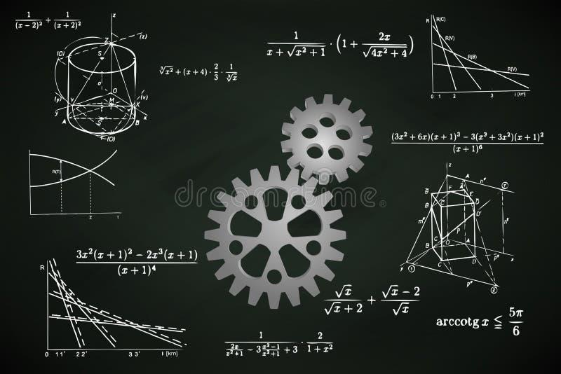 Industrieel tandrad op bord met wiskundeberekeningen vector illustratie