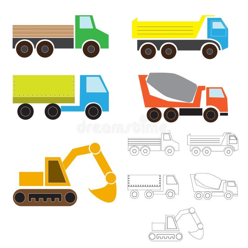 Industrieel vervoer, eenvoudige kinderen` s tekening voor het kleuren vrachtwagen, kipwagen, wagen, graafwerktuig, concrete mixer vector illustratie