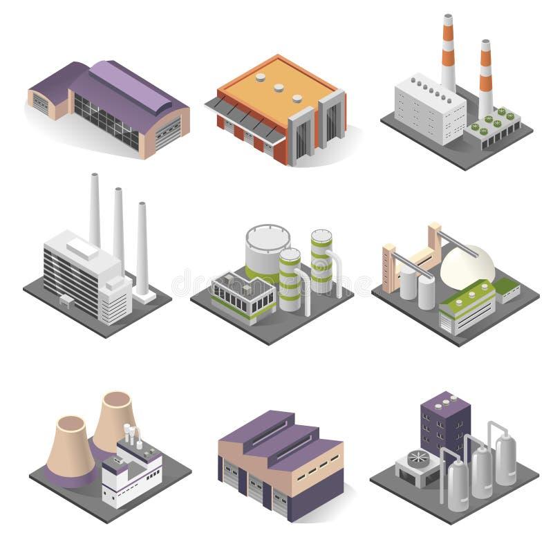 Industriegebäude und sometric Satz der Fabrikarchitektur lizenzfreie abbildung