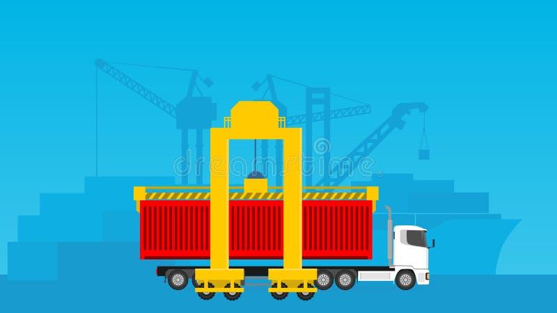 Industriell aktivitetspäfyllning som lastar av för distributionskedjaledningillustration vektor illustrationer