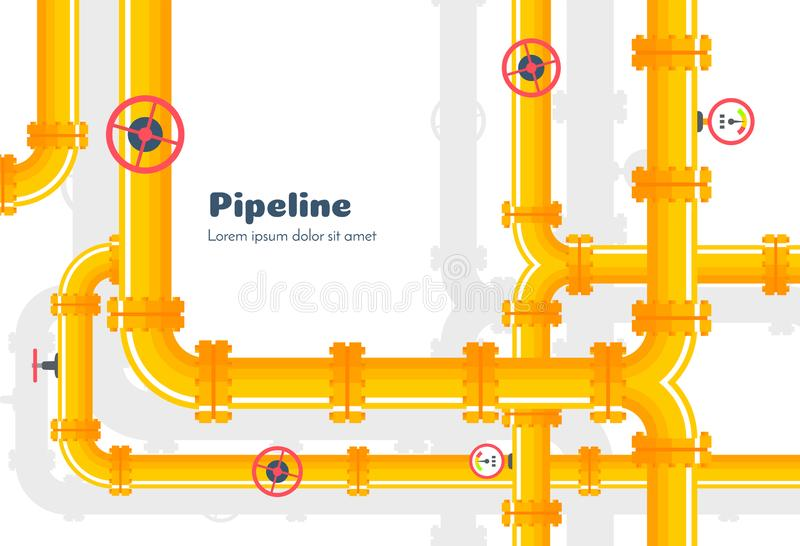 Industriell bakgrund för rörledning med gasrör och ventiler vektor illustrationer