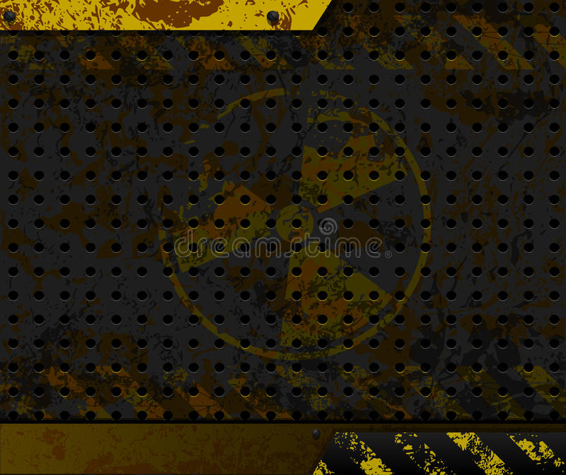 industriell bakgrund Radioaktivt symbol på rostig metall vektor illustrationer