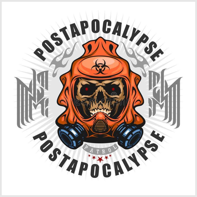 Industriell, Beitragapocalypsewappen mit dem Schädel, Schmutz Weinlesedesignt-shirts stock abbildung