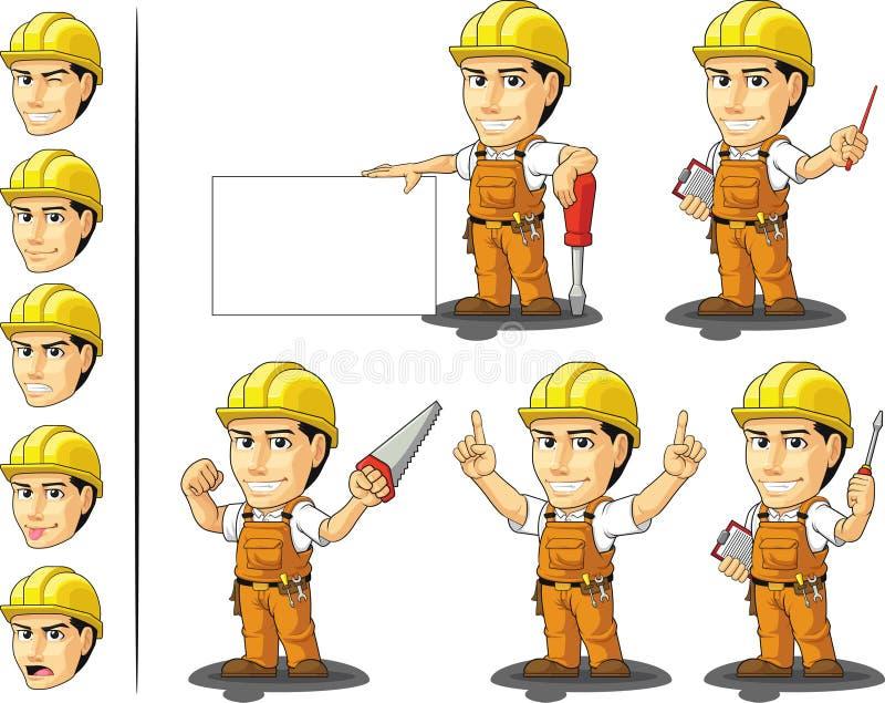Industriell byggnadsarbetare Mascot 3 vektor illustrationer