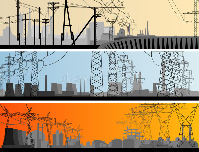 Industriell del för abstrakt horisontalbaner av staden. royaltyfri illustrationer