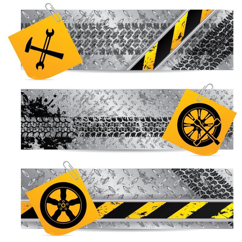 Industriell etikettuppsättning av tre med brevpapper vektor illustrationer
