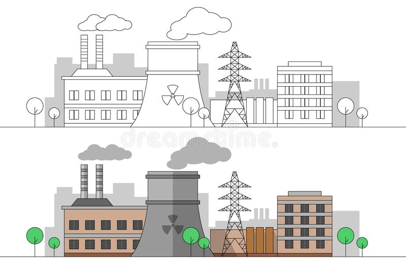 Industriell fabrik med den kärn- stationen och kraftledningen Plan och linjär illustration för vektor färga målning redigerbart l royaltyfri illustrationer