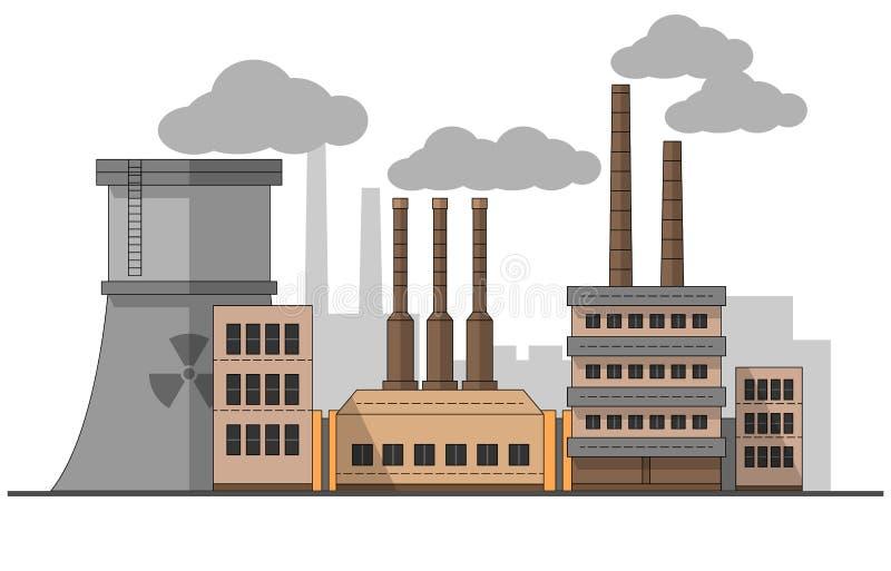 Industriell fabrik med landskap för kärn- station Plan illustration för vektor Bakgrund Rör med rök målning redigerbart vektor illustrationer