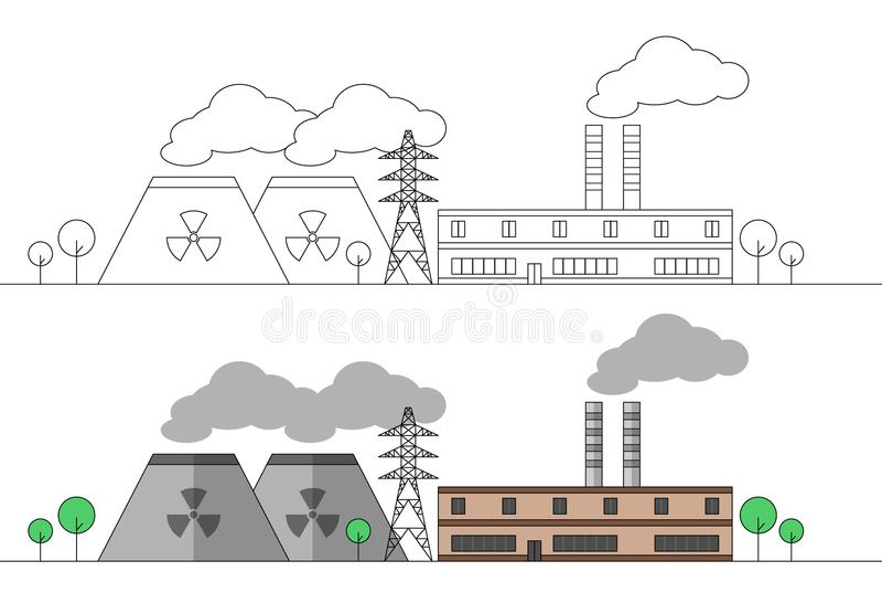 Industriell fabrik med två kärn- stationer och kraftledning Plan och linjär illustration för vektor färga målning Landskap royaltyfri illustrationer