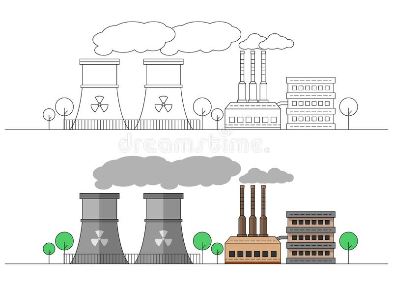 Industriell fabrik med två kärn- stationer Plan och linjär illustration för vektor färga målning redigerbart Landskap rør vektor illustrationer