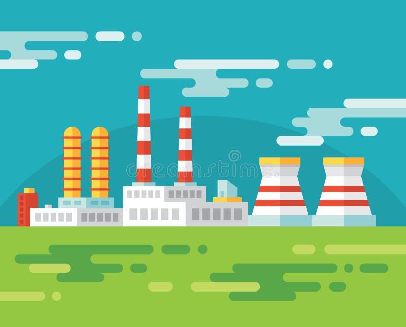 Industriell fabriksbyggnad - vektorillustration i plan designstil stock illustrationer