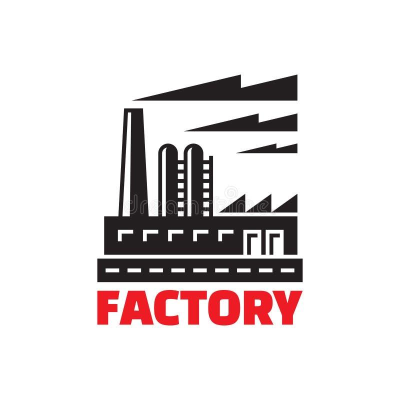 Industriell fabriksbyggnad - vektorteckenillustration stock illustrationer