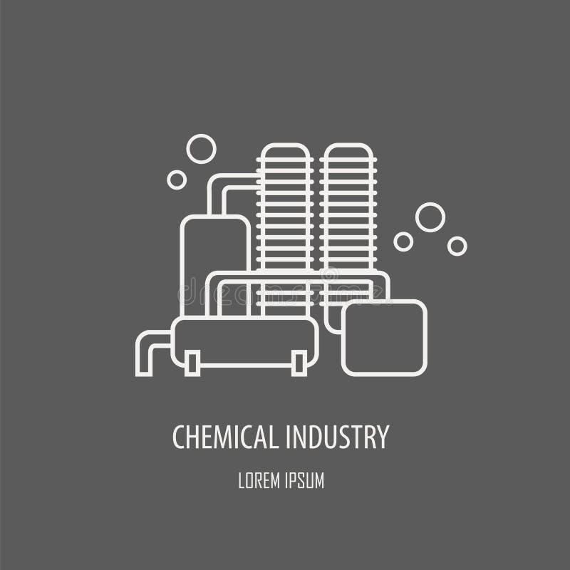 Industriell fabrikslogomall Linjär emblemdesign vektor illustrationer