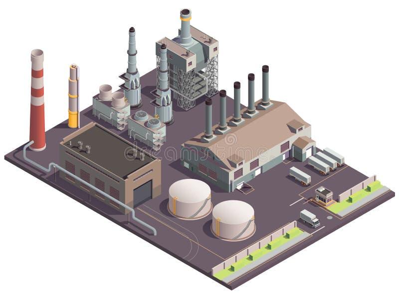 Industriell fabriksplatssammansättning vektor illustrationer