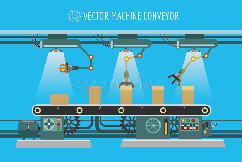 Industriell fabrikstransportband för maskineri royaltyfri illustrationer