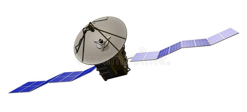 Industriell illustration av utrymme som är satellit- med stora solfångare som isoleras på klar vit bakgrund - illustration 3D royaltyfri illustrationer