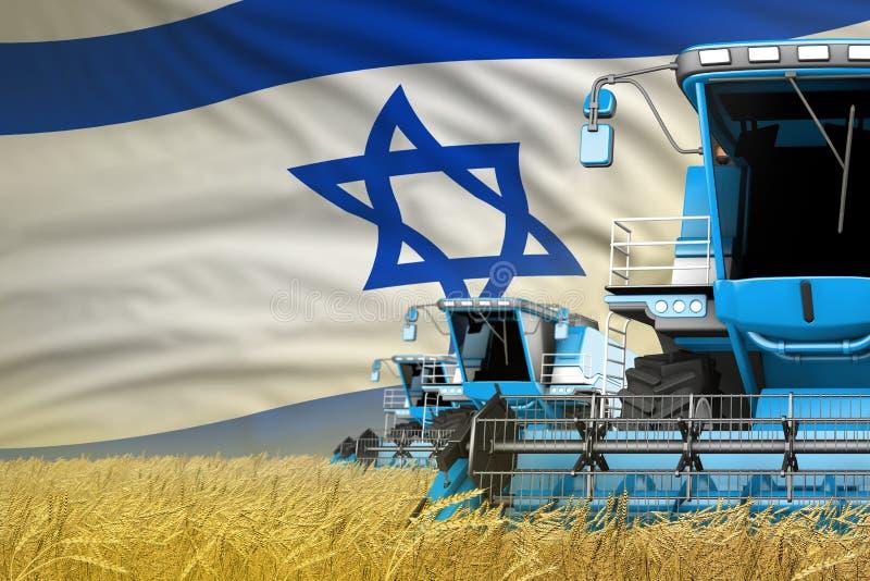 Industriell illustration 3D av 3 blåa moderna skördetröskor med den Israel flaggan på det lantliga fältet - nära sikt som brukar  arkivbild
