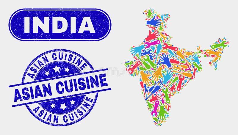 Industriell Indien översikt och skrapade asiatiska kokkonststämplar vektor illustrationer