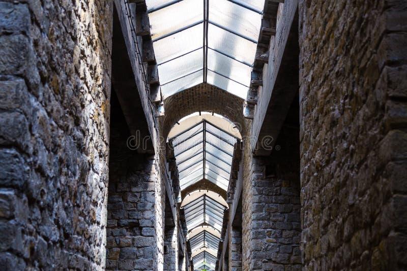 Industriell inre av gammal byggnad med fönster royaltyfri foto