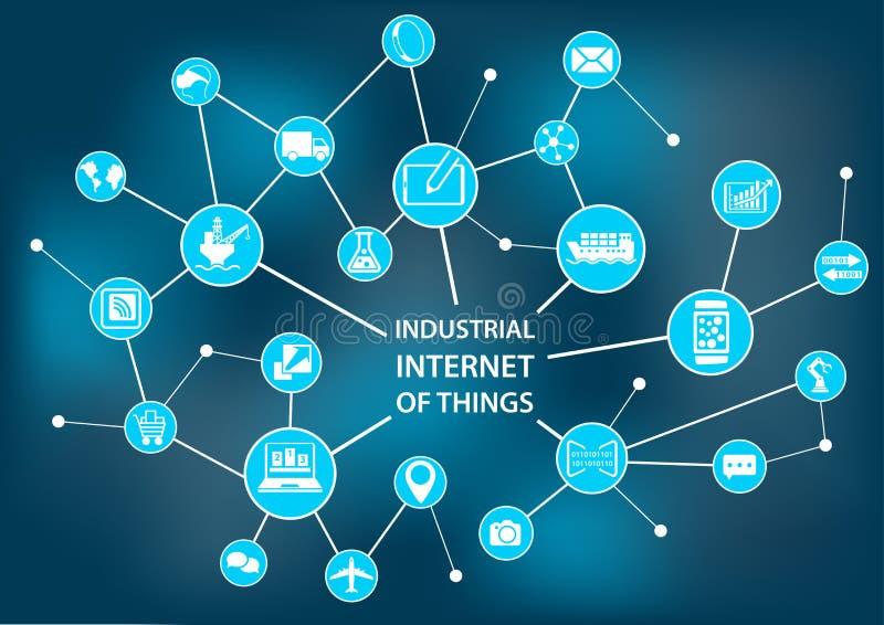 Industriell internet av saker/bransch 4 0 begrepp som stock illustrationer