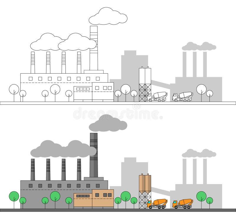 Industriell konkret fabrik och två lastbilar Plan och linjär illustration för vektor färga målning redigerbart Landskap Leda i rö stock illustrationer