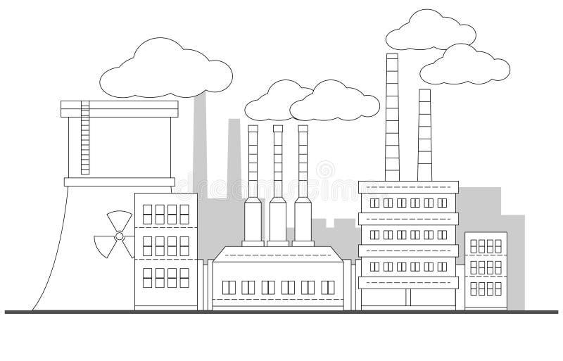 Industriell konturfabrik med landskap för kärn- station Linjär illustration för vektor målning redigerbart Bakgrund Rör med stock illustrationer
