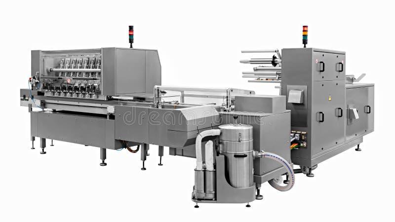 Industriell linje för att förpacka av bageriprodukter Emballage av bröd på fabriken royaltyfri bild