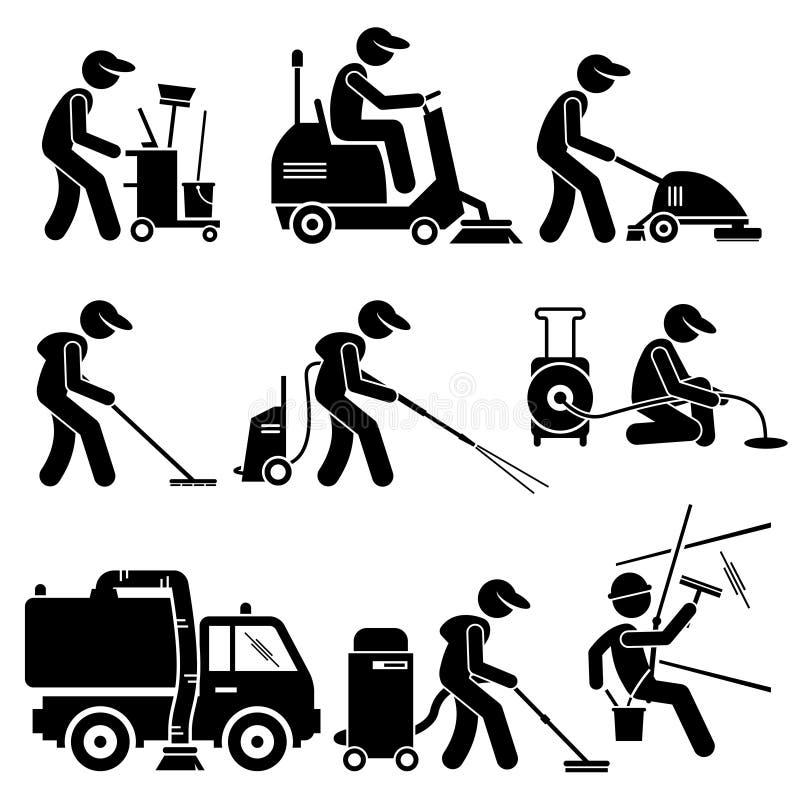 Industriell lokalvårdarbetare med hjälpmedel och utrustning Clipart stock illustrationer