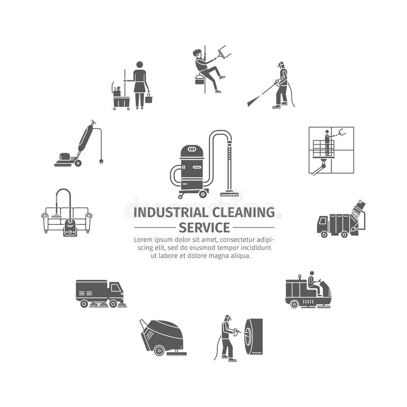 Industriell lokalvårdservice royaltyfri illustrationer