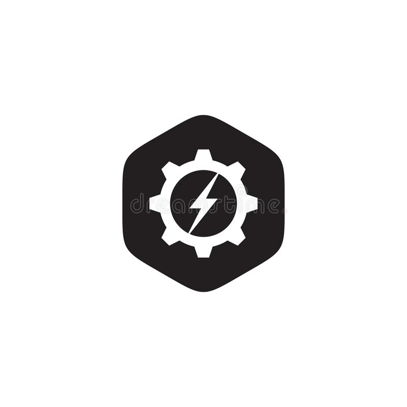 Industriell mall för vektor för symbolslogodesign med kugghjulet och den pråliga symbolen royaltyfri illustrationer