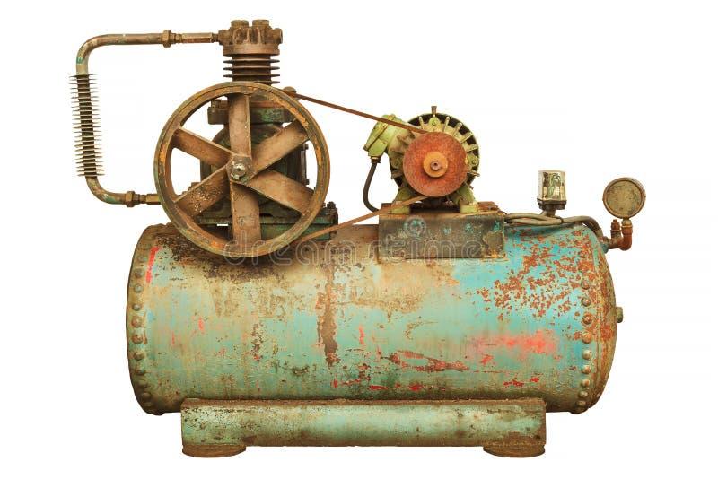 Industriell maskin för tappning med en grön kokkärl som isoleras på vit royaltyfria bilder