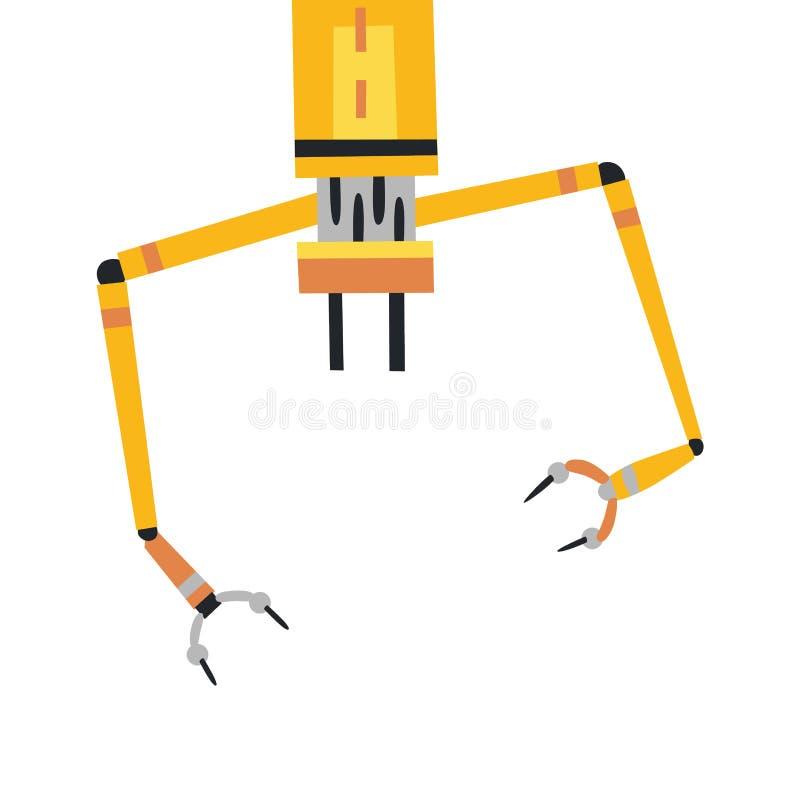 Industriell mekanisk symbol för robotarmvektor robotic yellow för arm vektor illustrationer
