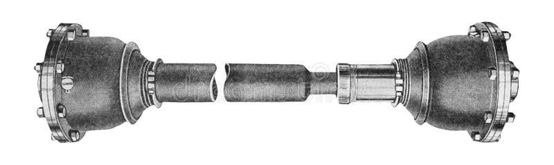 Industriell metalldel som isoleras över vit Propellerdrevaxel av en Retro bil royaltyfri fotografi