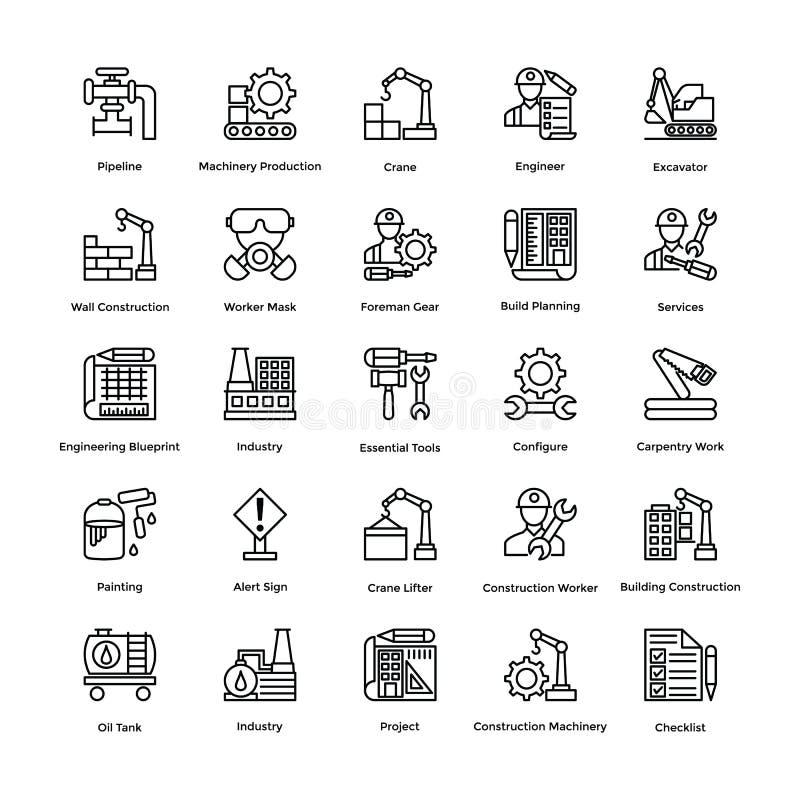 Industriell och konstruktionslinje vektorsymbolsuppsättning 4 stock illustrationer