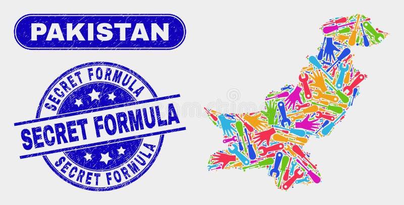 Industriell Pakistan översikt och att bedröva skyddsremsor för hemlig formel stock illustrationer