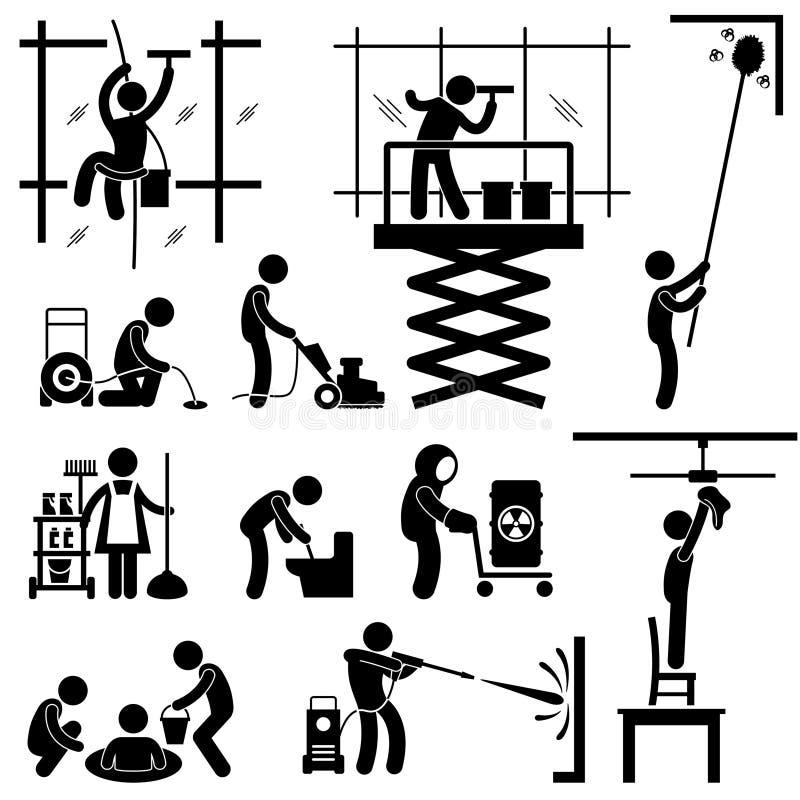 Industriell Pictogram för Cleaningservicejobb royaltyfri illustrationer